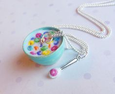 bowl of froot loops cereal necklace by ScrumptiousDoodle @etsy