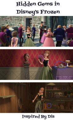 Hidden Gems in Disney's Frozen - Flynn and Rapunzel, candy land in Wreck It Ralph, and Mickey Mouse. Disney...you are BRILLIANT!!!