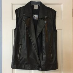 """Silence + Noise faux leather Moto vest 100% viscose with 100% polyester lining. Underarm across 18"""". Length 26"""". Bundle for even bigger savings! Offers welcome. No trades. Urban Outfitters Jackets & Coats Vests"""
