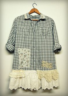 Extra Large Boho Shirt Oversized Shabby Chic Button Down