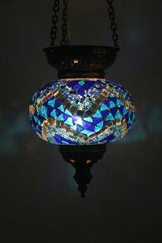 LARGE TURKISH OTTOMAN MOROCCAN MOSAIC HANGING LAMP SHADE PENDANT LANTERN GIFT