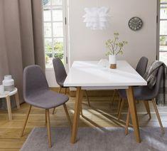 awesome Salle à manger - Salle à manger design - Table laquée blanche, chaise en tissu avec pieds en pi...