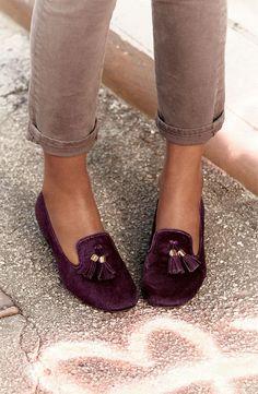 purple loafers.