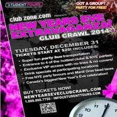 Vancouver NYE Club Crawl 2015 at Multiple Venues, See Website on Dec31, 2014 to Jan01, 2015 at 6:00pm to 4:00am. The biggest and best nye party on the face of the planet! New Years Eve Extravaganza Club Crawl 2015.  URL: Booking: http://atnd.it/18749-1  Category: Nightlife  Price: See Website