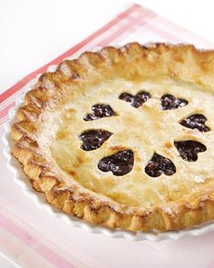 Grandma Friendship's Raisin Pie Valentine's Day Dessert Recipes | Martha Stewart Living - This wonderful raisin pie is a favorite family recipe of online editor Kristen Aiken. To space out the hearts, Kristen uses a paper circle with a diameter of 2 to 3 inches.