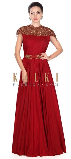 Buy this Maroon gown adorn in cut work embroidered yoke only on Kalki