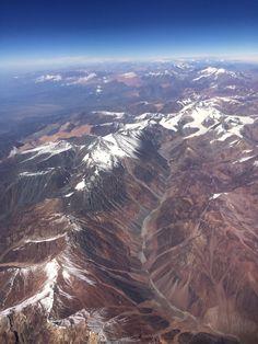 Cordillera de los Andes, Potosí, Bolivia - An aerial view of the Andes between Argentina and Chile.