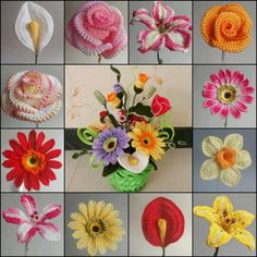 flores de crochet... I must try them all over and over again!!!!!