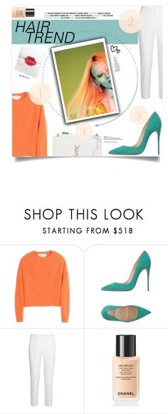 """""""Hair trend • Orange"""" by diamondpuppy125 ❤ liked on Polyvore featuring beauty, Marni, Christian Louboutin, Michael Kors, Chanel, Yves Saint Laurent, hairtrend and rainbowhair"""