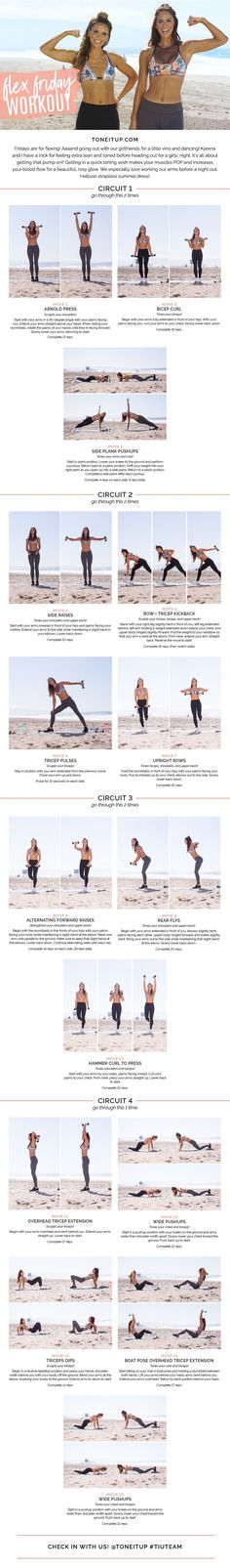 Flex Friday Workout from ToneItUp.com! With this workout, you're going to sculpt your biceps, triceps, shoulders, chest, and upper back for your own sexy Karena arms! And of course this routine's not just for Fridays…you can do it any day you like!