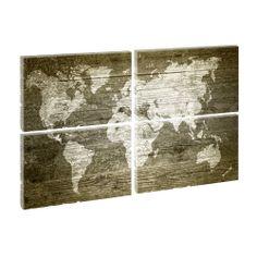 Weltkarte - Kunstdruck auf Leinwand - vierteilig -je 65cm*100cm.V0610058