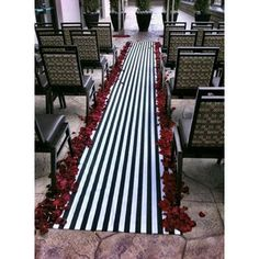 black and white stripe chair sashes | Wedding Black and White Stripe Aisle Runner