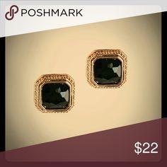 Stunning Black Gem Studs Beautiful stud earrings. Black Gem with 18k gold plated metals.  Glass crystal.  Lead & Nickel free. Large studs -measures 2.5 cm Jewelry Earrings