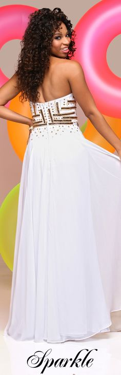 Sparkle Prom Style #71621 - Chiffon sweetheart strapless with patterned gold sequins and flowing skirt.