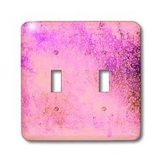 Bright Pink Abstract Peacock Art - Light Switch Covers - double toggle switch