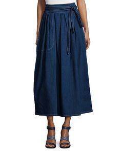 W0B4J Marc Jacobs Dirndl Denim Wrap Midi Skirt, Navy