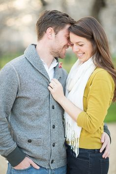 Washington DC Cherry Blossoms engagement session- Abby Grace -- LOVE the idea of incorporating a light colored scarf in some of the shots. Because: the light color will reflect upward onto your face and it's very flattering