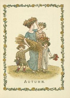 'Autumn.' Illustration by Kate Greenaway taken from'Kate Greenaway's Almanack and Diary for 1897. Published by J. M. Dent.Image and text courtesy NYPL Digital Collection.