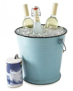 Here's a great way to chill beverages in time for an impromptu backyard barbecue. Place wine or other bottles in a bucket; add a layer of ic...