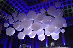 Jumbo White Balloons over Dance Floor 3 Foot, 4 Foot & 5 Foot Balloons Hanging over Dance Floor Hanging Balloons, Jumbo Balloons, Round Balloons, Giant Balloons, White Balloons, Helium Balloons, Balloon Centerpieces, Balloon Decorations, Wedding Decorations