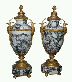 French marble covered urns