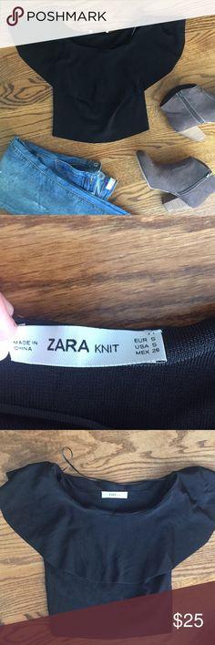 Zara Knit Black Crop Top Excellent condition, like new. Zara Tops Crop Tops