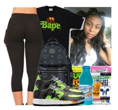 """Untitled #1077"" by chynaloggins ❤ liked on Polyvore featuring A BATHING APE and MCM"