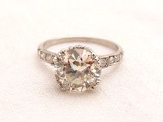 Stunning Vintage 2.01 ct Diamond Platinum Engagement Ring