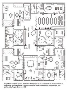 Reggio Emilia school floor plan in Italy Reggio Emilia Preschool, Reggio Emilia Classroom, Reggio Inspired Classrooms, Play Based Learning, Learning Spaces, Learning Environments, Early Learning, School Floor Plan, Reggio Emilia Approach