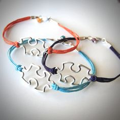 Sterling Puzzled bracelet on linen cord (you chose the color!) from JewelryByMaeBee on Etsy.