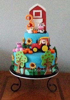 Bella's Farm Cake - Created for an adorable little girl named Bella for her 3rd birthday. The pieces are all made from gumpaste or fondant.