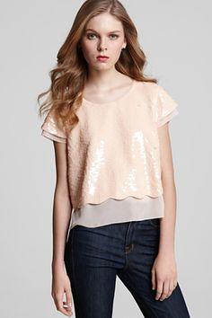 classy scallop sparkle shirt