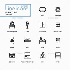Furniture ¨C line design icons set. Items for interior design, shop. Sofa, armchair, dressing table, lamp, wardrobe, bedside table, chair, bed, desk, stool, commode, ready made kitchen, sink, rack