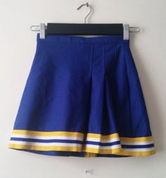 Blue Yellow White Varsity Spirit Cheerleading UNIFORM SKIRT GIRLS Youth Waist 23 #VarsitySpirit
