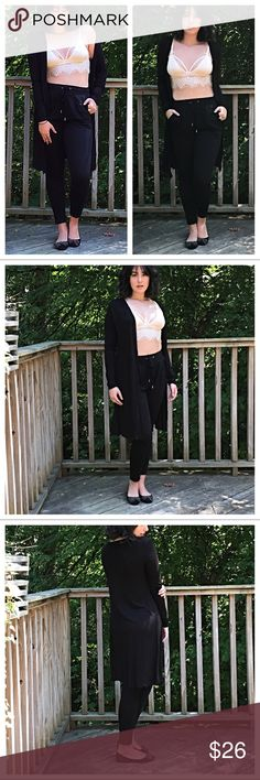🆕 black duster Longline open cardigan length S 35 M 36 L 37 PLEASE Use the Poshmark new option you can purchase and it will give you the option to pick the size you want ( all sizes are available) BUNDLE and save 10% ( no trades price is firm unless bundled) Jackets & Coats
