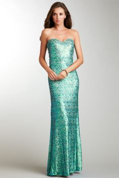 Strapless Sequined Gown~