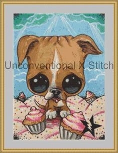 Puppy dog cross stitch pattern - Pitbull Pitbill Licensed Sugar Fueled by UnconventionalX on Etsy