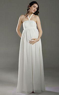 Empire Halter Floor-length Chiffon Satin Maternity Wedding Dress