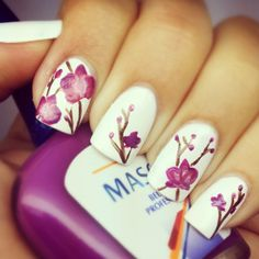 Flowers nail design by: http://pinterest.com/ellielynnee/
