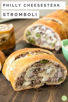 Philly Cheesesteak Stromboli with Sweet and Tangy Salad from the eMeals Budget Friendly plan Ground Beef Recipes For Dinner, Easy Dinner Recipes, Appetizer Recipes, Easy Meals, Dinner Ideas, Yummy Appetizers, Appetizer Sandwiches, Dessert Recipes, Crunchwrap Supreme
