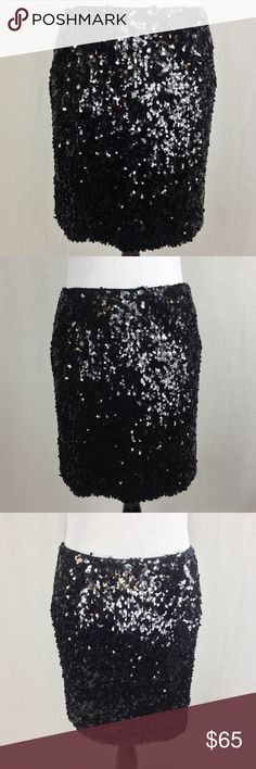 VINCE Black Sequin Party Skirt Beautiful VINCE sequin party skirt in great pre owned condition. Sequin is oval shaped. Shimmers when you walk:) Silk Lining was cut on each side because it was too tight on the legs(Can be repaired if desired). it does not alter the appearance of the skirt AT ALL. Side zipper and hook closure. It's  super super cute and sexy! Size 6. Waist-14 across....Length-17.5... MSRP $345 Vince Skirts Mini