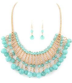 TURQUOISE BEADED NECKLACE EARRINGS SET - $20