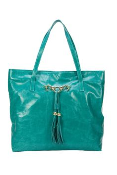 H & S Collection Belinda Tote Bag in Turquoise - Beyond the Rack
