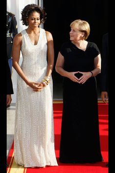June 2011: Michelle Obama wears Naeem Khan to the State Dinner for German Chancellor Angela Merkel, Washington, D.C.