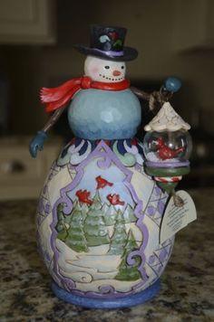 "Jim Shore ""Winter Beauty"" Snowman w Snow Globe | eBay"