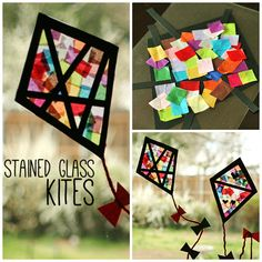 We have some colorful tissue paper stained glass kites decorating our windows. This is a super-easy, no-mess craft, great for little ones and big kids alike!