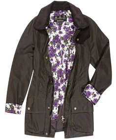 Barbour jacket. Love the little pop of flowers on the inside, makes it so cute for spring!