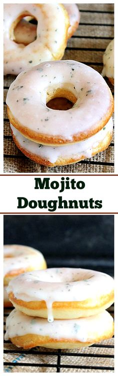 These Mojito Doughnuts taste just like your favorite cocktail, but in DONUT form!! They're baked and SO easy to make at home.