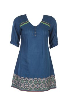 Blue Solid Kurta; V Neck; Quarter Sleeve; 34 Inches Long; 100% Cotton #Clothing #Fashion #Style #Kurti #Wear #Colors #Apparel #Semiformal #Print #Casuals #W for #Woman