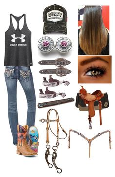 """""""Barrel racing practice!:)"""" by countryprincess-99 ❤ liked on Polyvore featuring Miss Me and Under Armour"""